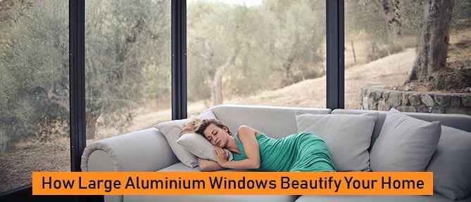 room with large aluminium windows