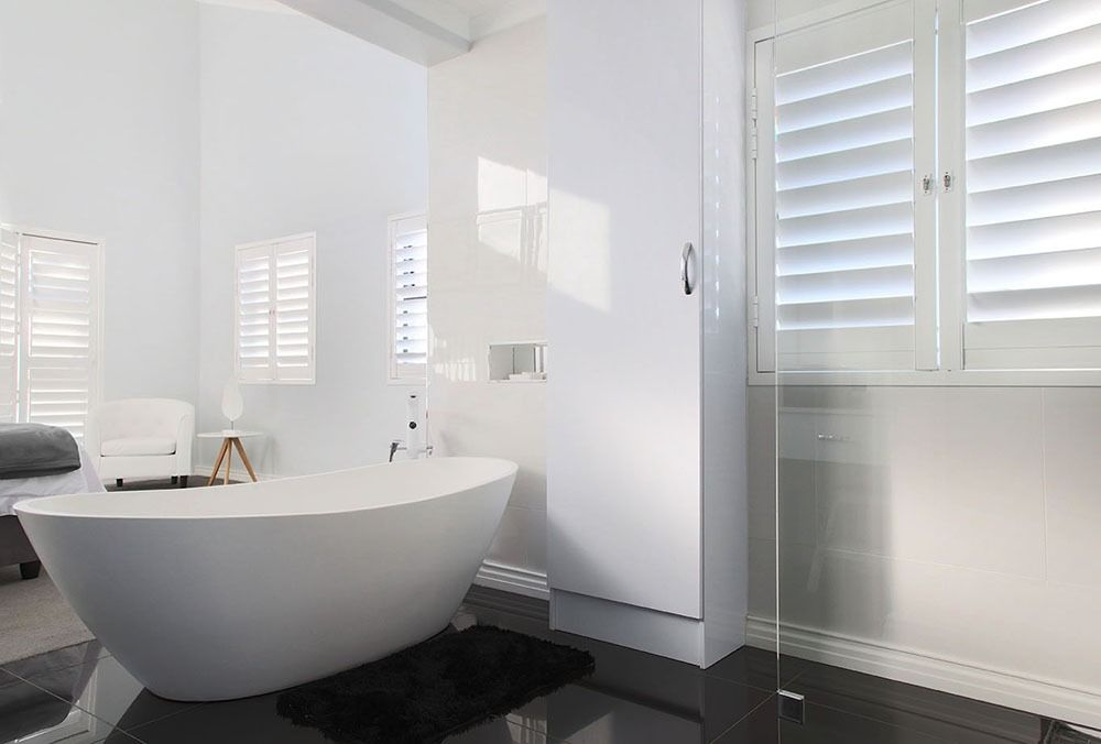 modern bathroom with security shutters