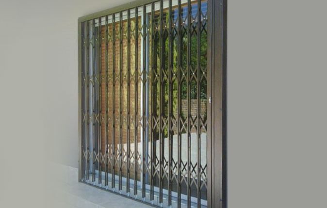 sliding door with security gate